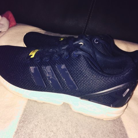 12c627c282c3e ... reduced adidas zx flux navy white yellow size 10 used but in very depop  024fc f955b