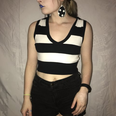 d7b6cc62771 @thequirkyroom. 3 months ago. Dallas, United States. Black and white  striped crop top ...