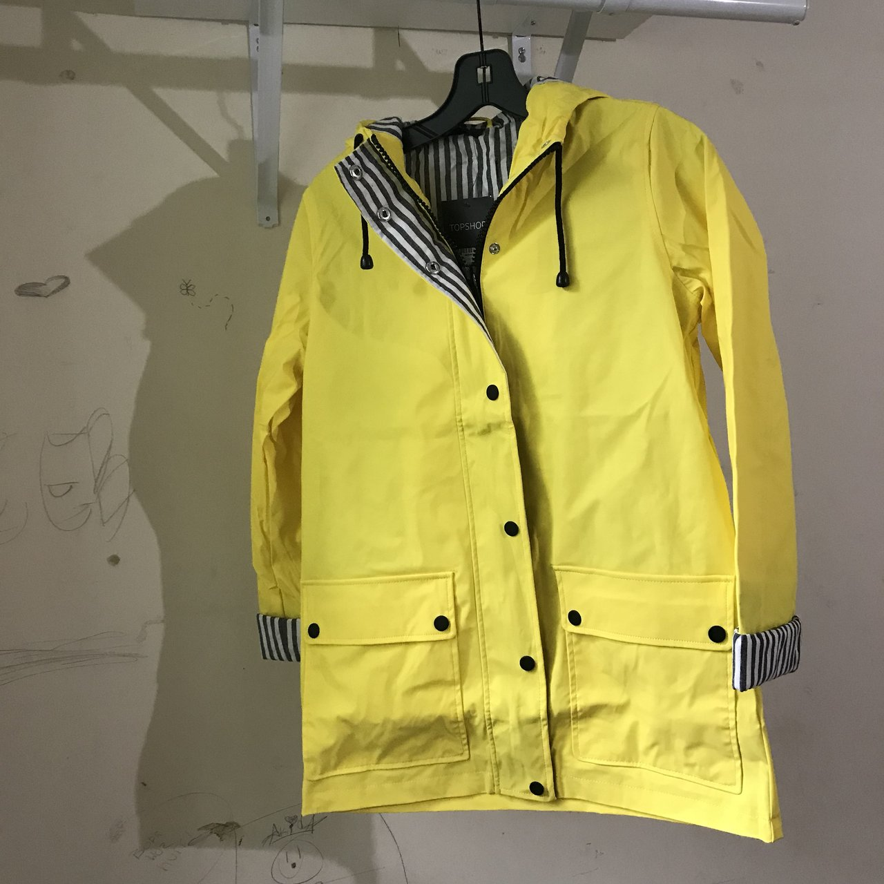 c7aa3ae10e NWT Topshop Hooded Rain Mac Your Classic Yellow lining 2 US - Depop