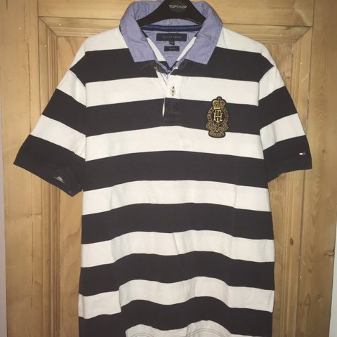 a3ebc18d @jay777. 3 months ago. Tonbridge, United Kingdom. Tommy Hilfiger Polo  Striped Navy Blue and White good condition. Size XXL but will fit ...