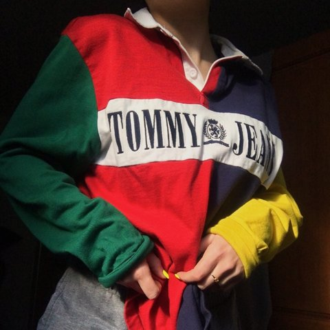 300246d5 @kenjunfei. last month. Philadelphia, United States. Tommy Hilfiger 90s  colorblock rugby shirt ...