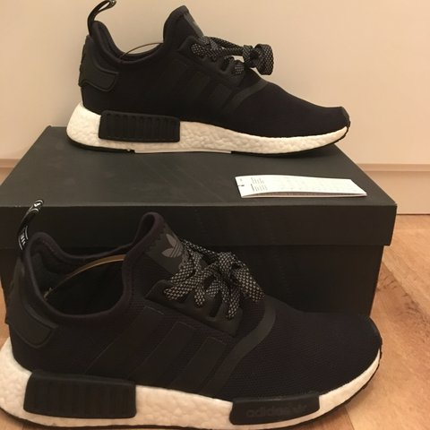 7293b13a8009b Source · NMD R1 hyped core black reflective Open to trades palace Depop