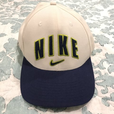 c3cf38d00e5cc4 Vintage neon and navy Nike cap ✨. Adjustable velcro strap. - Depop