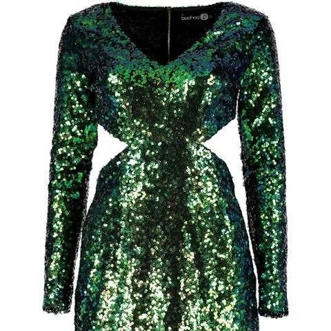 636b10859a71 @jodiejordan. 2 years ago. Londonderry, United Kingdom. Boohoo Boutique Ava  metallic sequin bodycon dress GREEN~ size 8 brand new ...