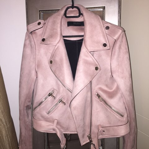 ab19c61a selling this zara baby pink faux suede biker jacket, never - Depop