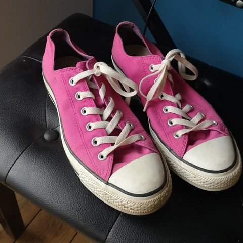 4d1629372870 Men s Pink Converse Trainers. Size 8. Offered in good any - Depop