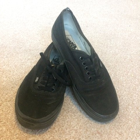 c61d09721134 well loved all black vans. Selling cheap they re a US size - Depop