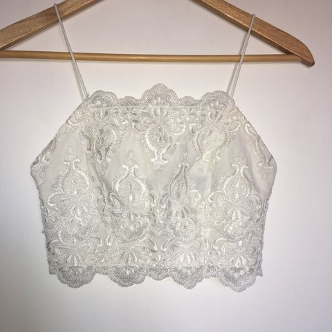 2956f19642e2c Topshop white lace crop top with thin straps