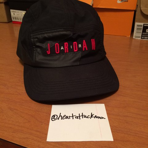 Air Jordan 5 panel hat. Varsity red and black. Picture 4 of - Depop 040572e3a3e2