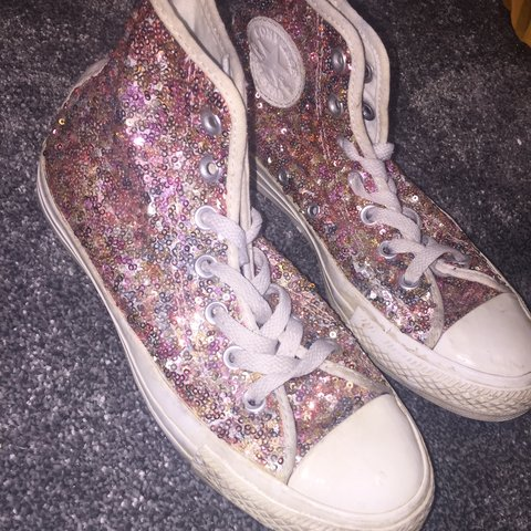 8341ad8ffaef Selling these pink sparkly converse, UK size 5. Slightly the - Depop