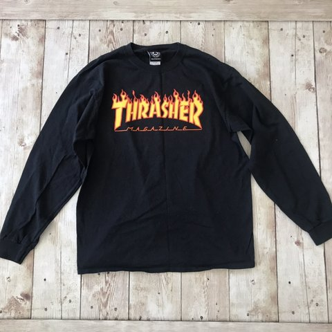 bc5df84aa04a @loveaiko. 3 months ago. El Monte, United States. Thrasher long sleeve  black tee shirt. Size large.