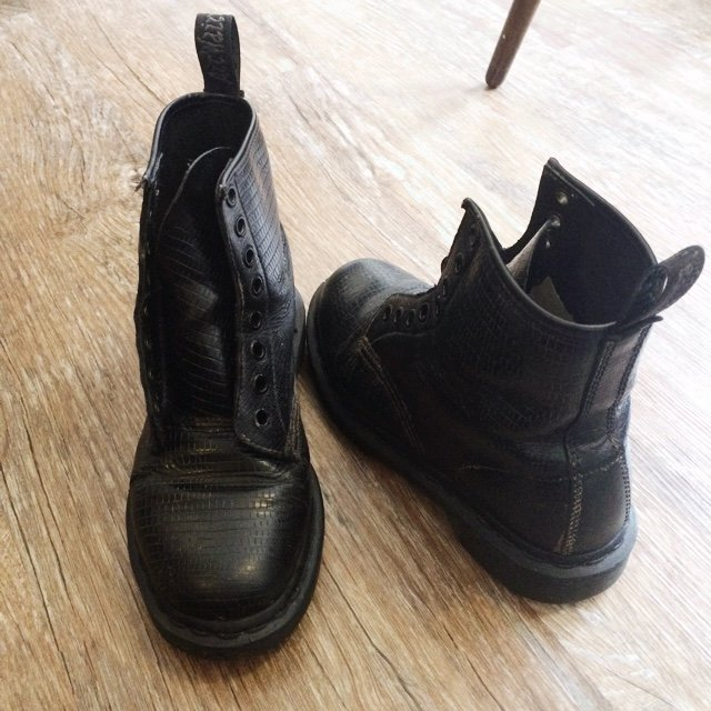 4b11382fc54d2 Very worn Dr Martens, Size 3. Mock Croc uppers with a black - Depop