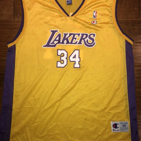 b8dd389c08c9 VINTAGE CHAMPION SHAQUILLE O NEAL LOS ANGELES LAKERS JERSEY. - Depop