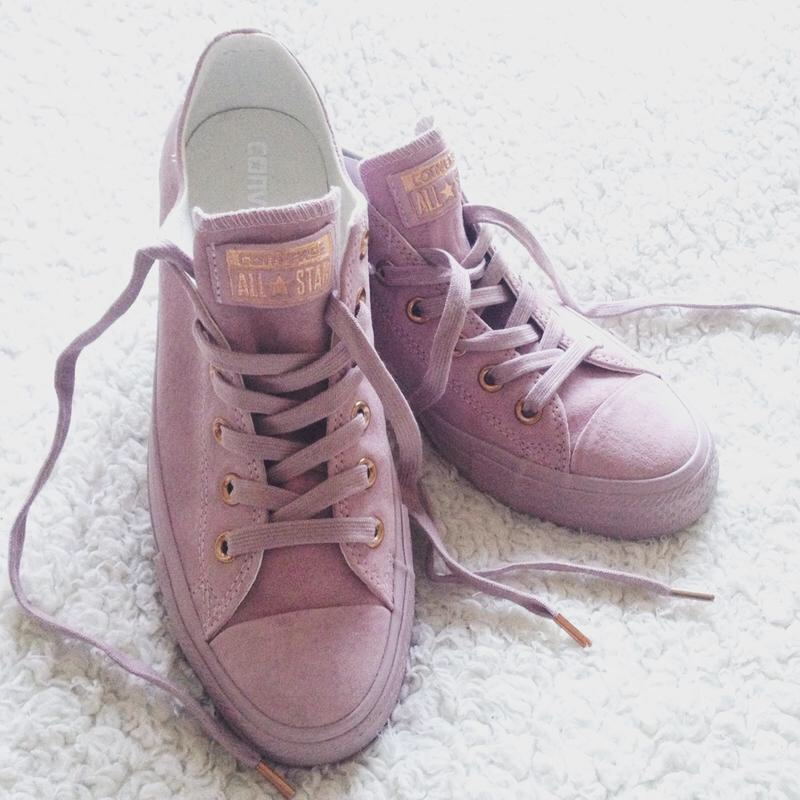 Pink rose gold limited edition converse. Suede Depop