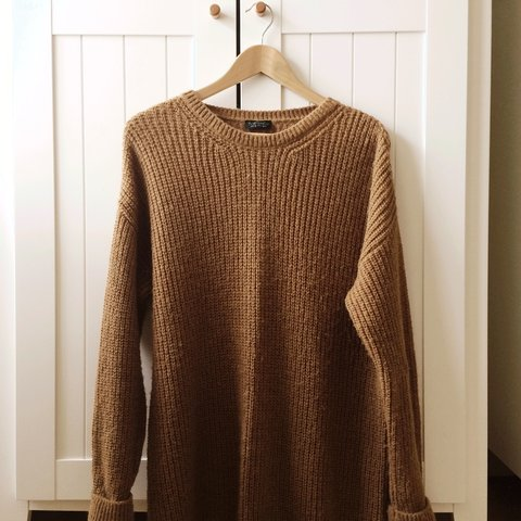 topshop brown knitted baggy jumper dress uk size 10 but fit - Depop e9a5ac51b