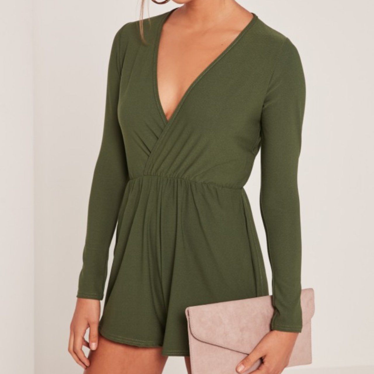 427fd5679e Miss guided khaki green wrap front playsuit
