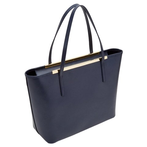 92ce6c559387 Ted baker carenna leather shopping bag navy. Great condition - Depop