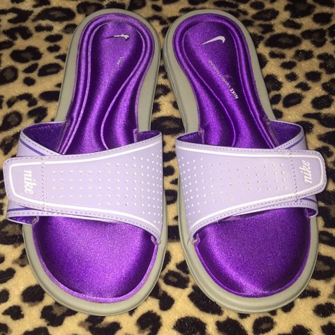 f8300b3da Beautiful lavender deep purple Nike slides with Nike Comfort - Depop