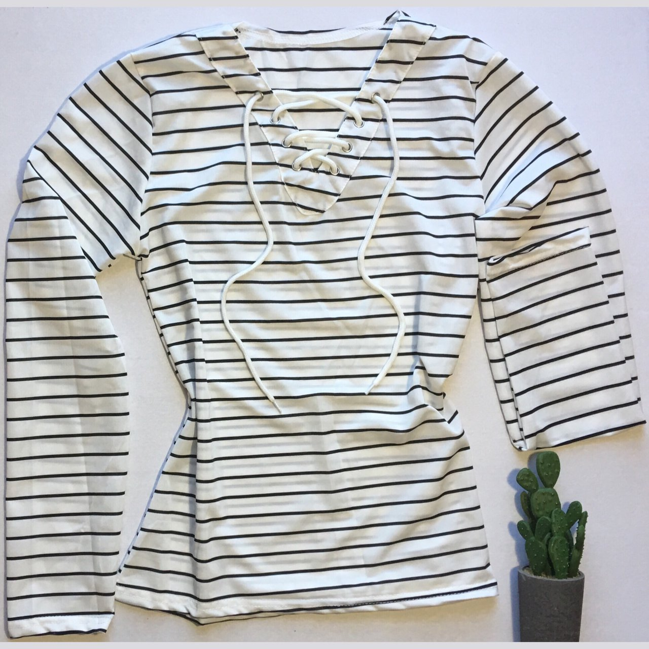 2a6413d925 Striped Long Sleeve Lace Up Tee• • Available in medium and - Depop