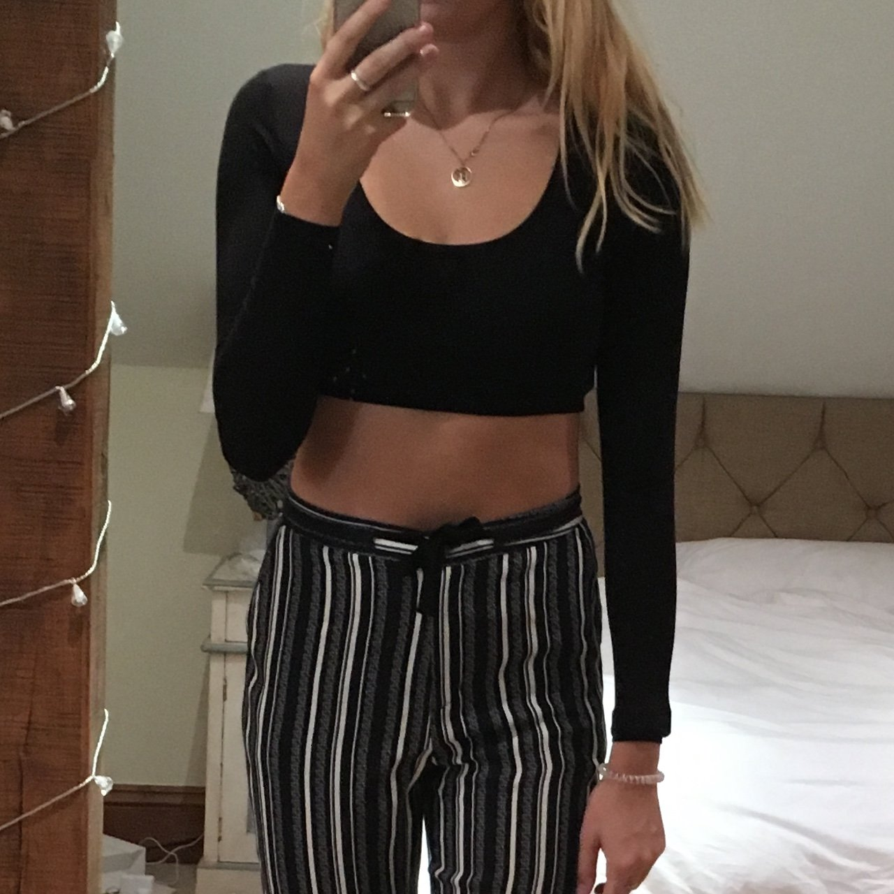 67059c73ccb4a Cropped long sleeve black top. Worn once.  asos  cropped a - Depop
