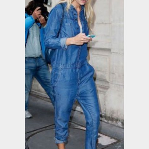 357f1270a59 H m slim leg not flared denim boilersuit jumpsuit size 12 of - Depop