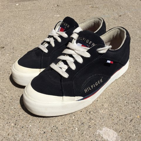 de999476e Vintage Tommy Hilfiger dark navy blue sneaker shoes. Made a - Depop