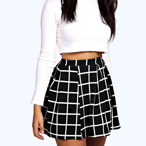 7c76077a70f8 Black and white chequered mini skirt. Flattering A shape. - Depop