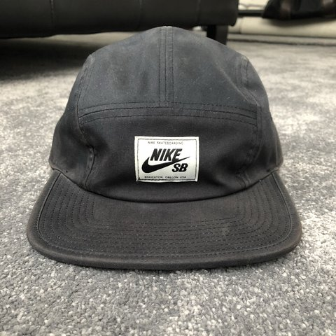 0d00e510f97bc Nike SB five panel black and white Condition is worn hat so - Depop