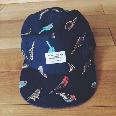 a096bbe6585 Bird print hat • adjustable leather strap • great condition - Depop
