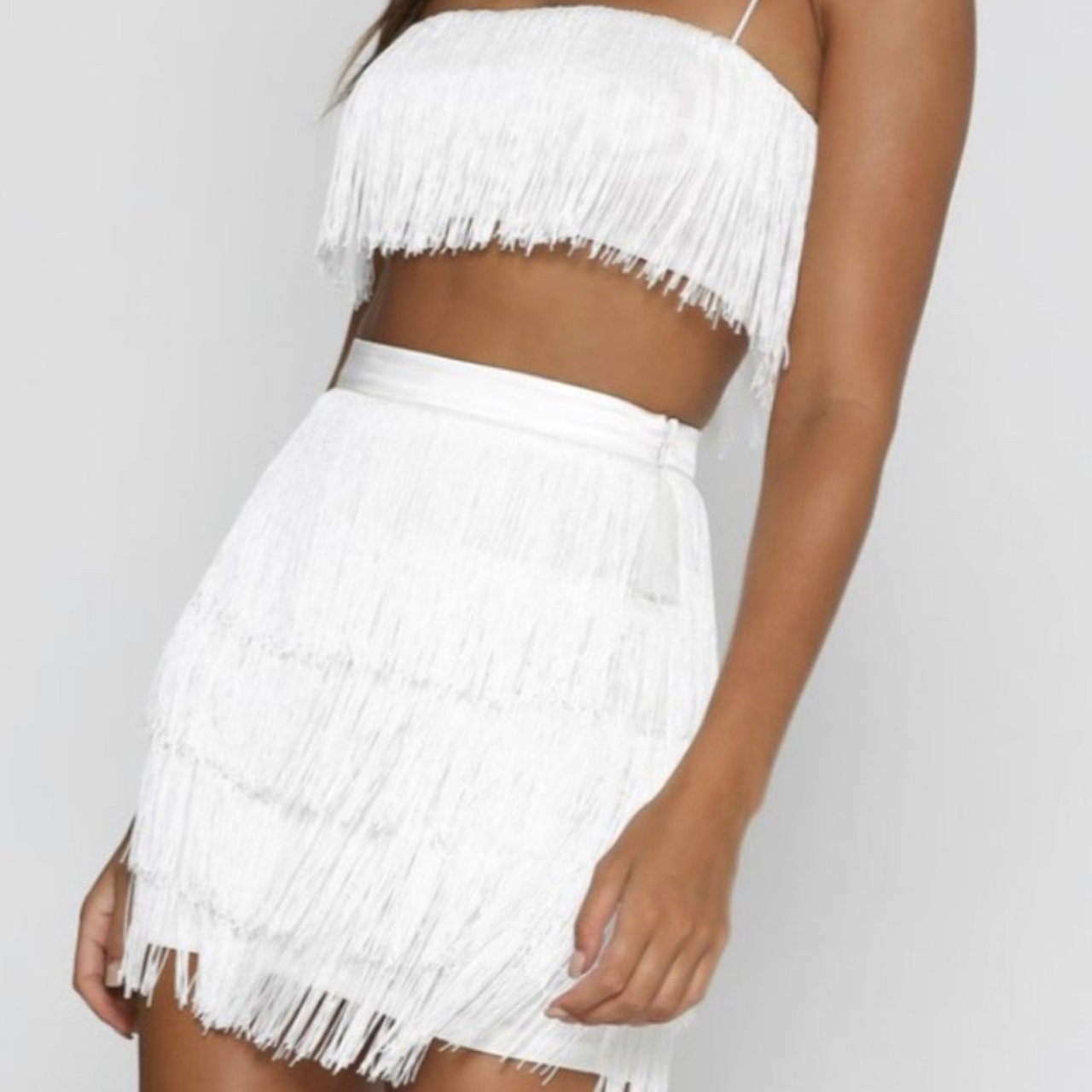 Black White Red Tassel Fringe Crop Top /& Skirt Co-Ord Size 6-14 Boutique Outfit