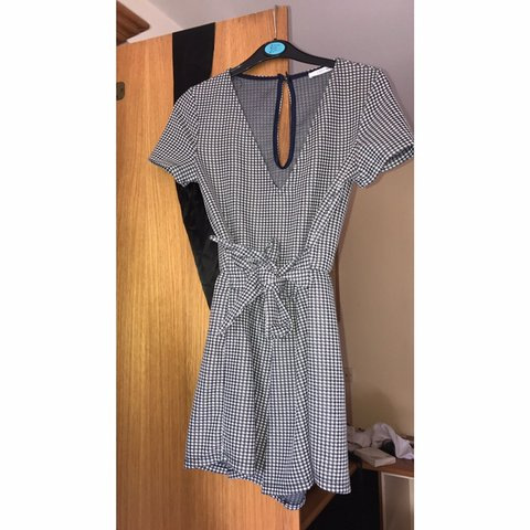 33fc477ab6b Zara navy and white gingham playsuit with bow. Love this I - Depop
