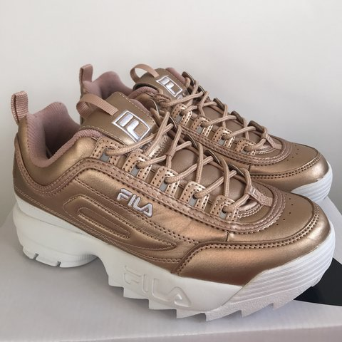 cc531cb8a66b 💗 BRAND NEW Gold Fila Disruptors 💗 Never worn - soles are - Depop