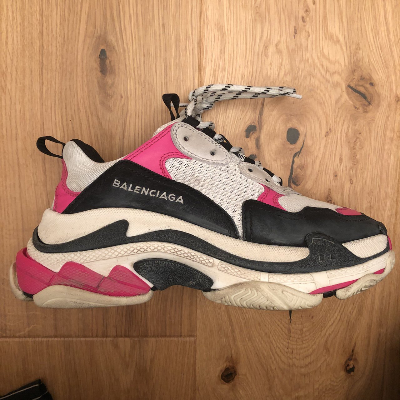 ad45cc5582e5 Balenciaga Triple S women s shoes (size 37) pink white and . - Depop