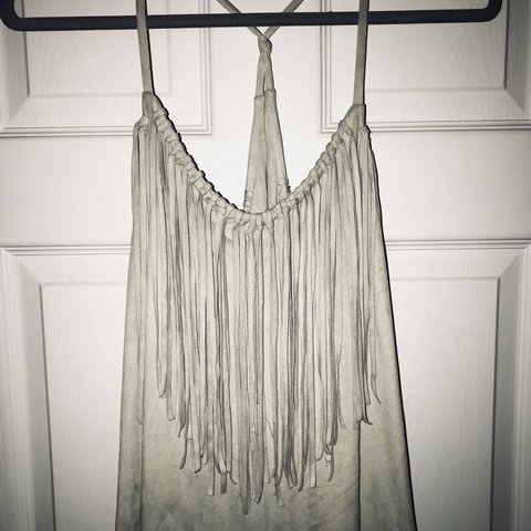 1d5b02cca8289 Gorgeous Zara Dress in Suede with Fringe Detail | Knotted at - Depop