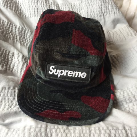 9d0ed7a872ea8a Supreme velvet camo camp cap from F/W 13 I think, great worn - Depop