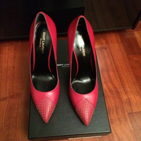 7f82ae11 Saint Laurent red pumps with studs on toe cap size 40. 110 - Depop