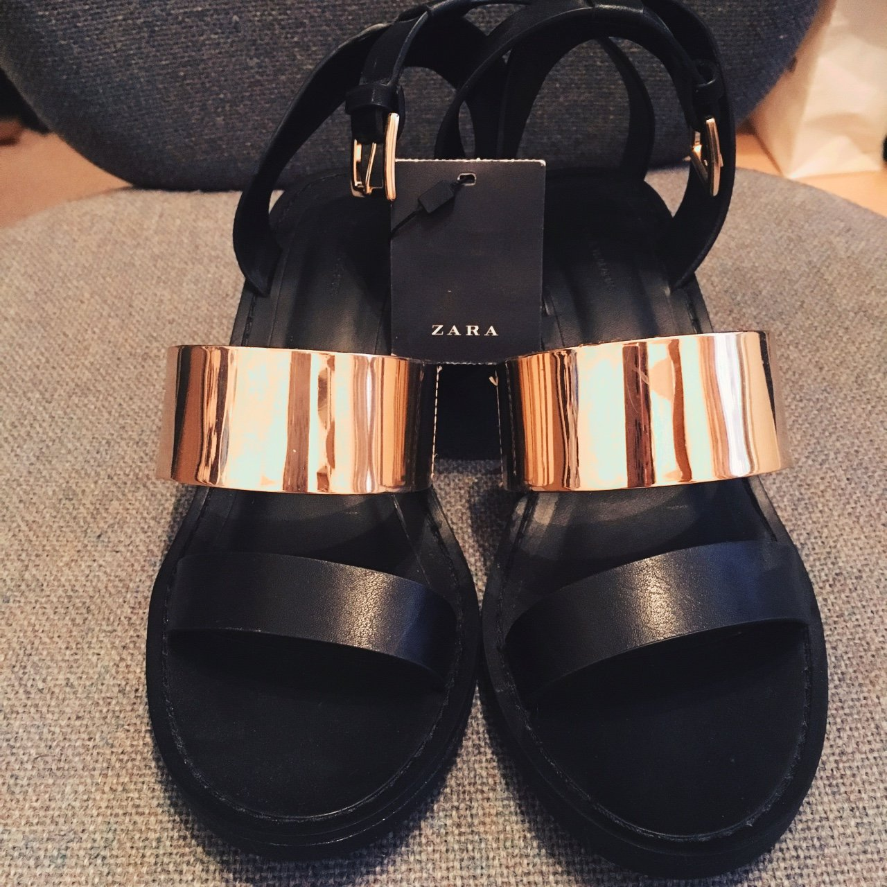 e964efb03 Zara heeled sandals with ankle straps. Black and gold. Brand - Depop