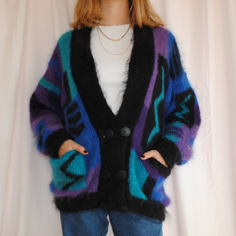 Fluffiest Mohair Cardigan Retro Pattern Hand Knitted L Depop