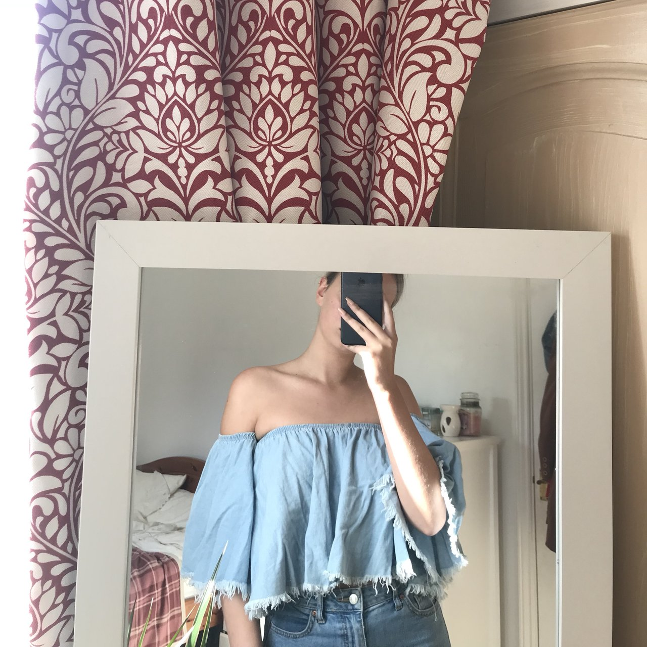 77e3c958a0a Floaty fashion nova denim look bardot - Depop