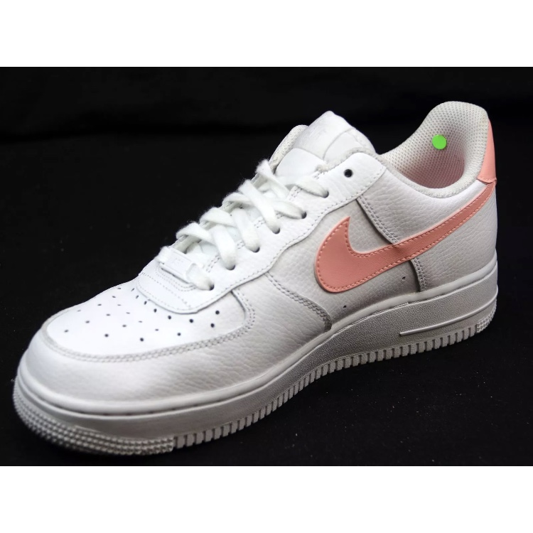 White Air Force 1 with coral pink tick size 6 EU Depop