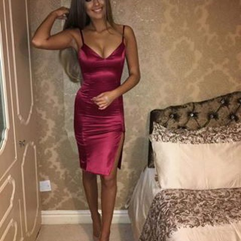 786e15896d5 OH POLLY DON T TAKE SIDES THIGH SPLIT SATIN MINI DRESS IN my - Depop