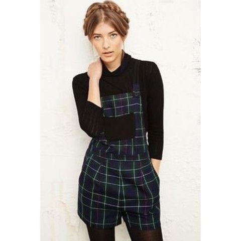 5f5484b567d Tartan pinafore short playsuit from Urban Outfitters. Size - Depop
