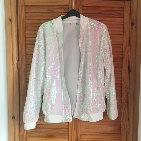 5333d613 Sparkly sequin white jacket! Small hole where label was cut - Depop