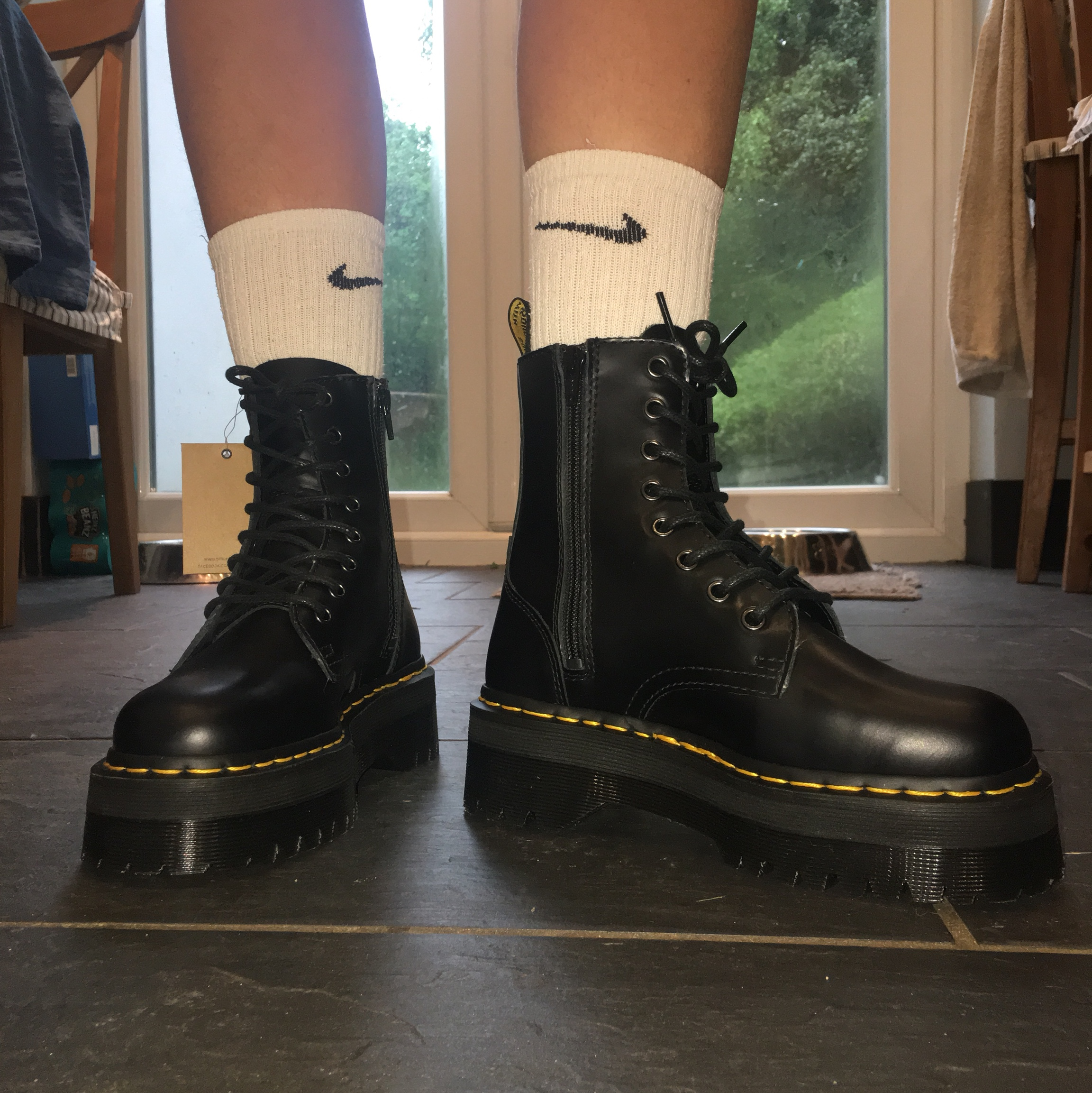 Dr Martens Jadon boots in smooth polished black Depop