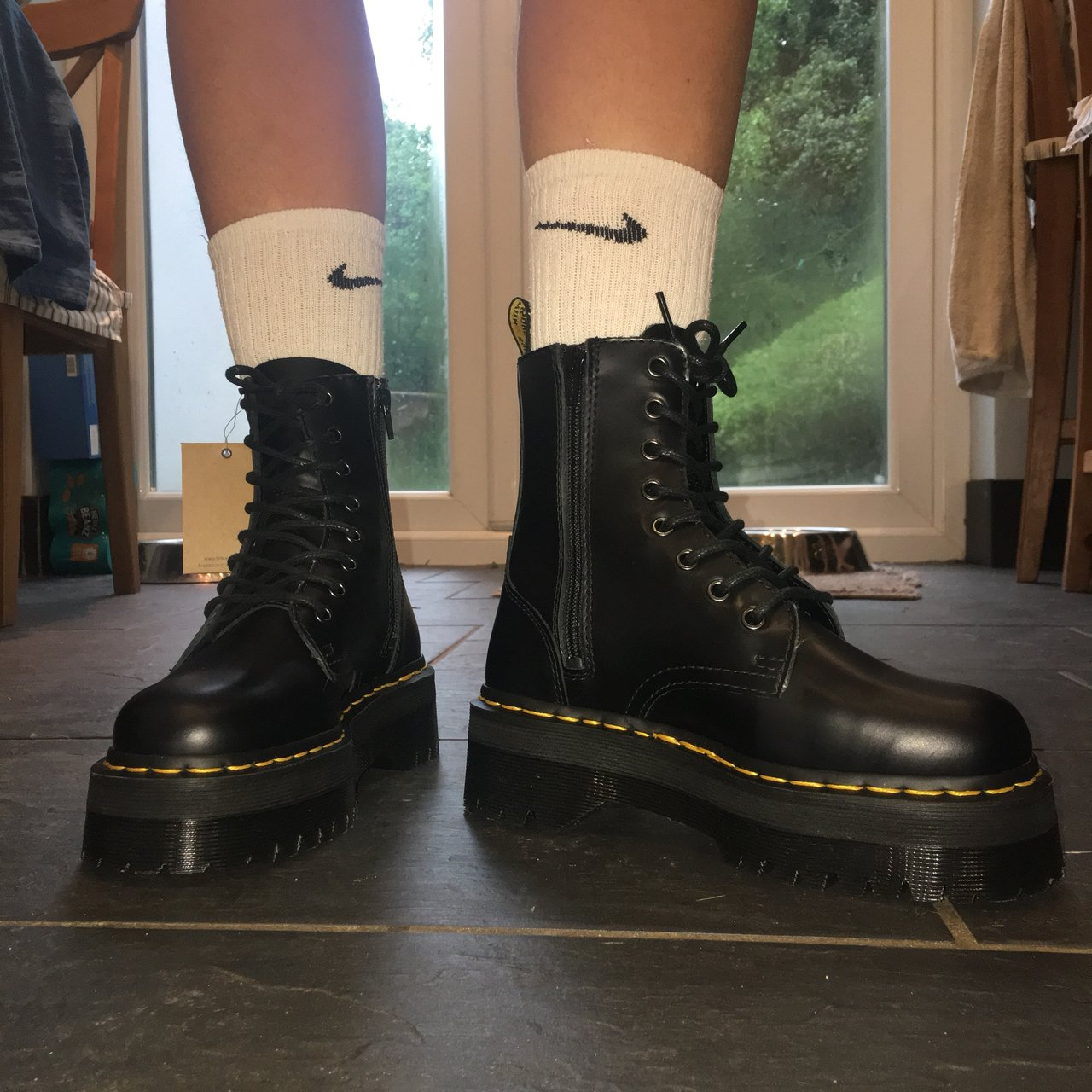 22939ba0e434 BLACK POLISHED SMOOTH JADON 8 EYE BOOTS SIZE 5 Dr. Martens - Depop