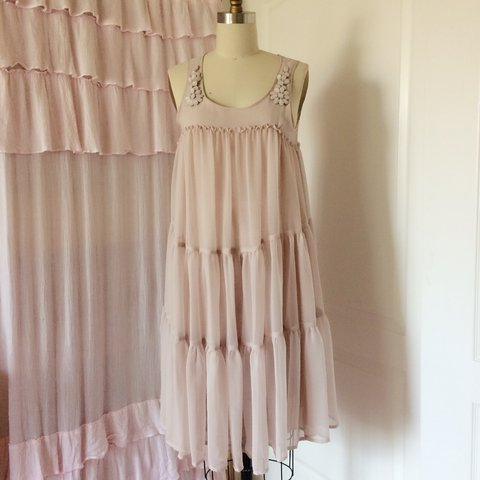 4a0dbbd6bbab Dusty pink chiffon tiered sleeveless dress. From the h&m - Depop
