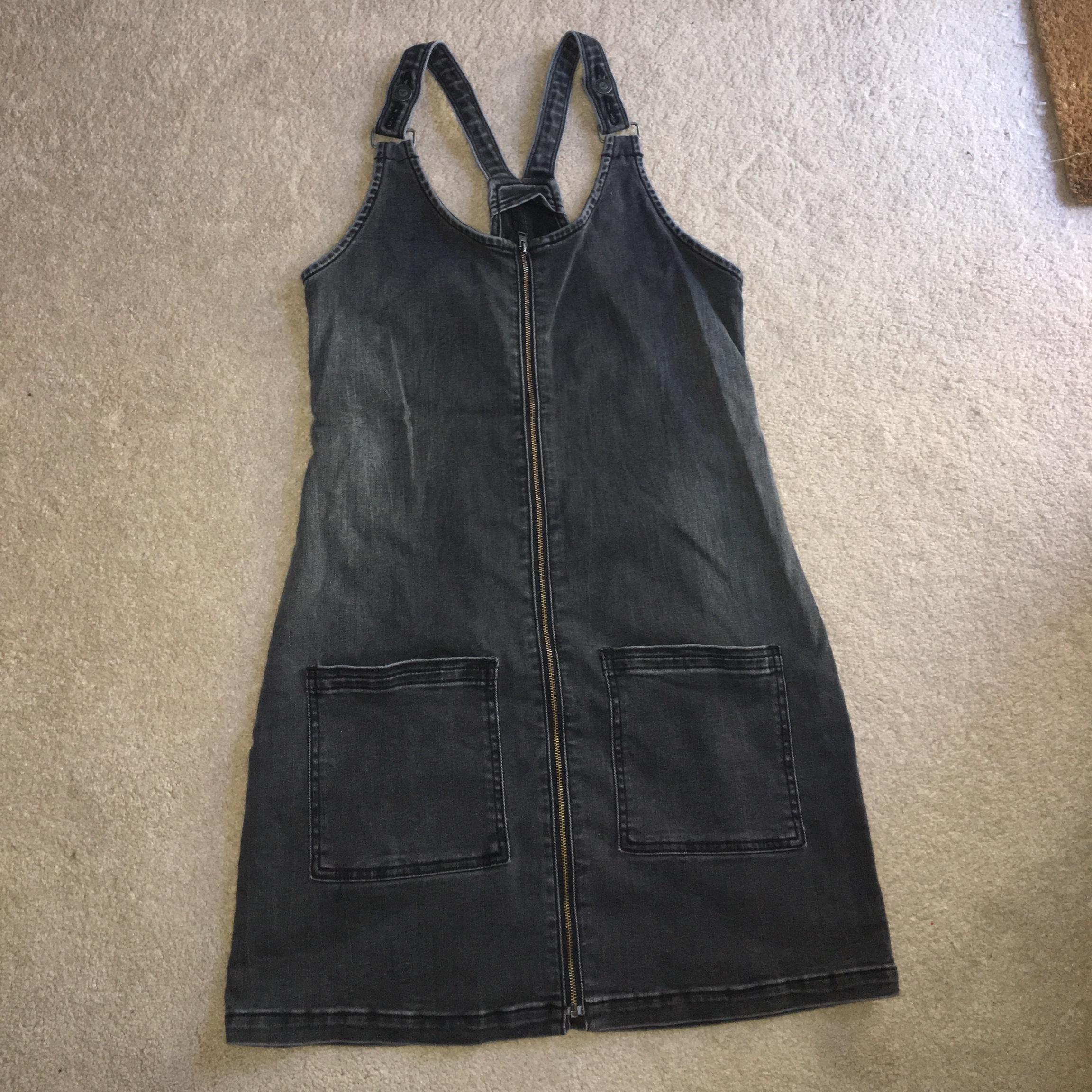 new arrive shades of sold worldwide Black/grey hollister pinafore dress with zip all... - Depop