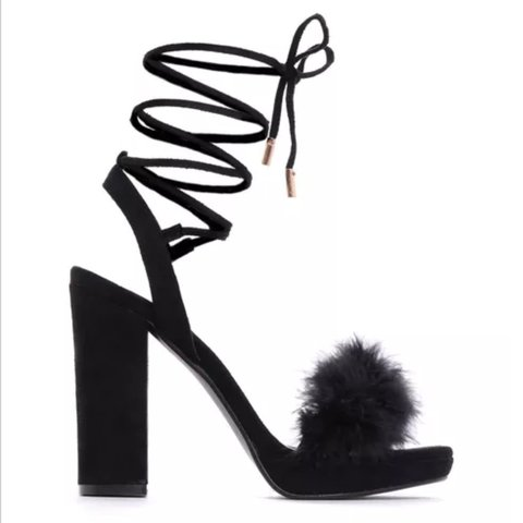 e4ae26a8d0 Amazing Chic black lace up black fluffy block heel platform - Depop