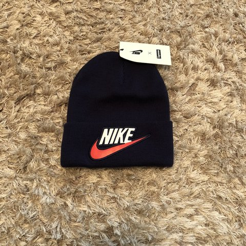 f9cdea62 @cheerybob. 7 months ago. Bristol, United Kingdom. Supreme Nike beanie hat  in navy! One size fits all