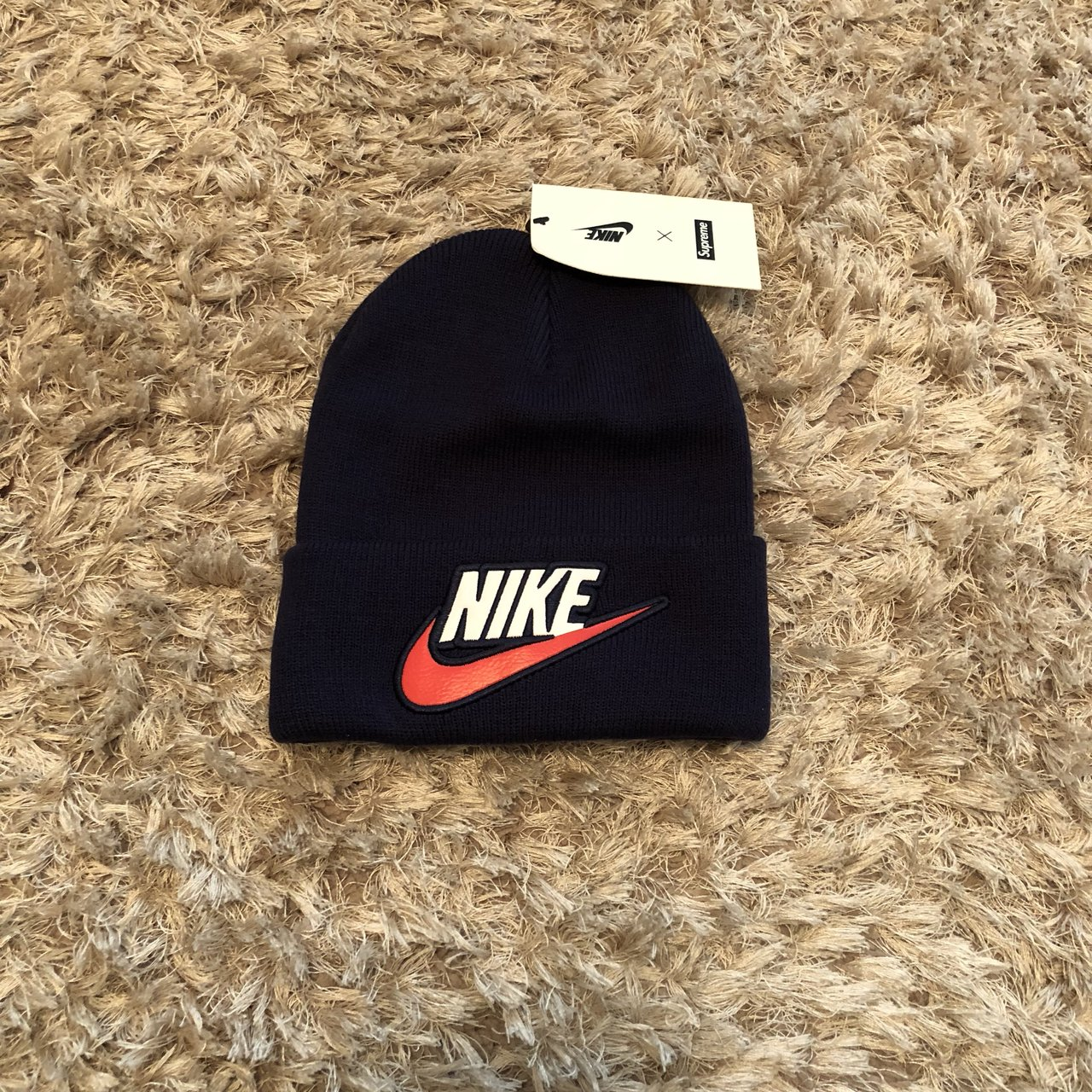 Supreme Nike beanie hat in navy! One size fits all Brand   - Depop 3763c7136eb0